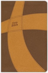 CEB Common English Bible Thinline DecoTone Brown and Gold Cross