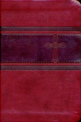 CEB Common English Bible Compact Thin, Red DecoTone with Cross