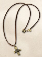 Gold Wrapped Cross Necklace with Brown Suede Cord