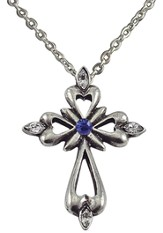 September Birthstone Cross Necklace, Sapphire