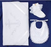 Baptism Bib, Blanket, Sock Set