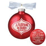 A Savior is Born Glass Ornament