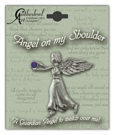 February Birthstone Angel Lapel Pin