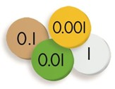 4-Value Decimals to Whole Number Place Value Discs Set, Grades 3-6