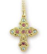 Gilded Rose Cross Necklace, Gold