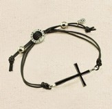 Cross Bracelet, Genuine Leather, Black