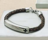Cross Id Bracelet, Genuine Leather, Brown