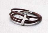 Eternity Cross Bracelet, Genuine Leather, Brown