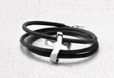 Eternity Cross Bracelet, Genuine Leather, Black