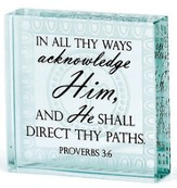 In All Thy Ways Acknowledge Him Glass Block