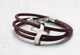 Men's Eternity Cross Bracelet, Genuine Leather, Brown