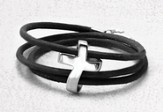 Men's Eternity Cross Bracelet, Genuine Leather, Black