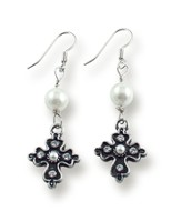Latin Pearl Cross Drop Earrings, Silver