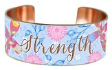 Hope Strength Love, Copper Cuff Bracelet