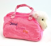 Jesus Loves Me Purse with Toy Lamb, Pink