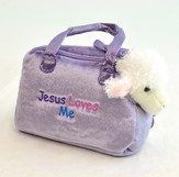 Jesus Loves Me Purse with Toy Lamb, Purple