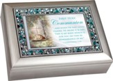 First Holy Communion, Jeweled Music Box, Silver and Blue