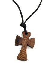 Flared Wood Cross Pendant