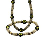Clay Cross Necklace and Bracelet Set, Yellow and Black