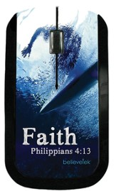 Faith Surfer, Philippians 4:13 USB Wireless Mouse Blue