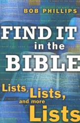 Find It in the Bible: Lists, Lists, and More Lists