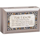 Petite Jeweled Pewter Music Box, For I Know The Plans, Jer 29:11