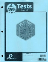 BJU Science Grade 3 Tests Answer Key, Fourth Edition