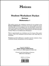 Horizons Mathematics Grade 1 Student worksheet packet