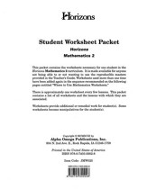 Horizons Mathematics Grade 2 Student worksheet packet
