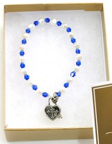 Prayer Box Cross Child Bracelet, September, Sapphire