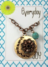 Thankful, Copper Toned Necklace with Turquoise Bead