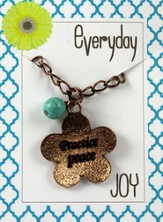 Practice Peace, Copper Toned Necklace with Turquoise Bead