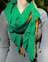 Scarf Green & Orange Anchor