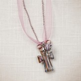 Living Water Cross Necklace, Pink