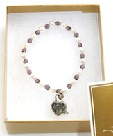 Prayer Box Cross Child Bracelet, February, Amethyst