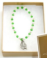 Prayer Box Cross Child Bracelet, May, Emerald