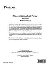Horizons Mathematics Grade K Student worksheet packet