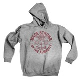 Made Strong Hooded Sweatshirt, Gray, Large (42-44)