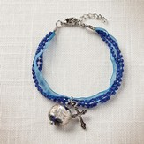 Living Water Cross Bracelet, Blue