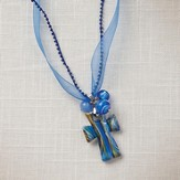Living Water Cross Necklace, Blue