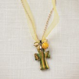 Living Water Cross Necklace, Yellow