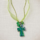 Living Water Cross Necklace, Green
