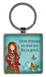 Give Thanks To God Keyring