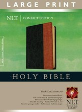 NLT Large Print Compact Bible--Soft leather-look, black/tan