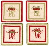 Love, Hope, Noel, Peace Coasters, Set of 4