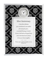25th Silver Anniversary Clock