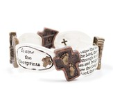 Two Toned Footprints Stretch Bracelet