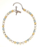 Rhinestone Choker Necklace, Blue and Yellow
