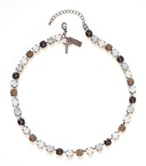 Rhinestone Choker Necklace, Brown and White