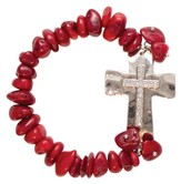 Rhinestone Cross Bracelet, Red Coral